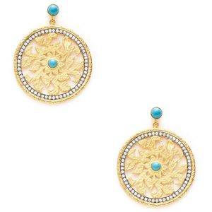 Kanupriya Bejeweled Gold Turquoise Disc Earrings